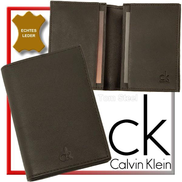 Calvin-Klein-Visitenkartenetui-Visitenkarten-EC-Kreditkarten-Leder-Etui-Neu