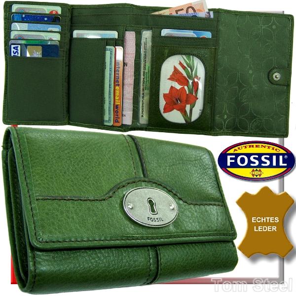 fossil damen geldb rse geldbeutel portemonnaie gr n neu. Black Bedroom Furniture Sets. Home Design Ideas