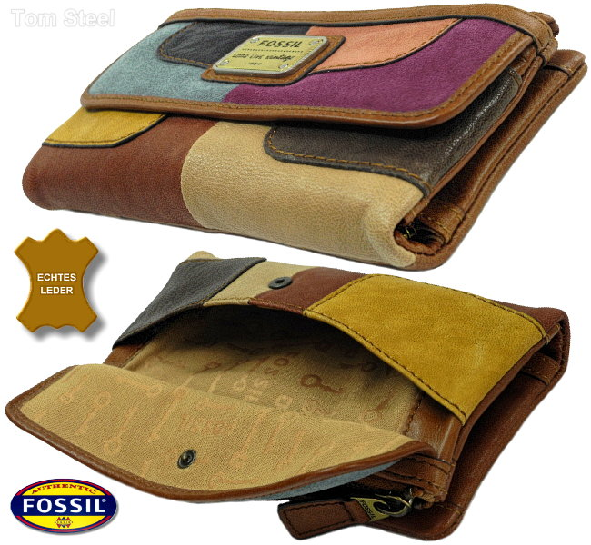 fossil leather patchwork ladies purse xl lady purse wallet. Black Bedroom Furniture Sets. Home Design Ideas